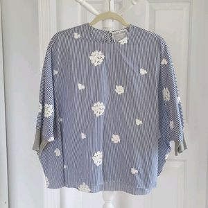 BEARDSLEY Floral Embroidered Striped Oversized Top